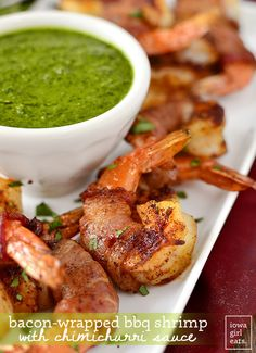 Bacon-Wrapped BBQ Shrimp with Chimichurri Dipping Sauce is an easy and irresistible gluten-free appetizer. Bursting with fresh and savory flavors! | iowagirleats.com