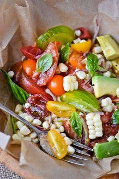 Tomato, corn and avocado salad