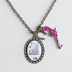 """Calamity inspirational necklace  $24 Reads """"I figure if a girl wants to be a legend the she should just be one"""" Www.plunderdesign.com/maryswinney"""