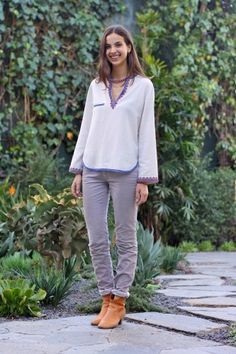 Name: Gabi Zecchetto, 22   Gig: Isabel Marant   Hood: Santa Monica   Wearing: Isabel Marant Top, Pants, Shoes, and Necklace, Gabriela Artigas Ring