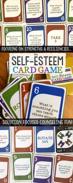 Self-Esteem Card Game!  Fun Solution Focused Brief Counseling Intervention.