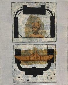 Jutta Scheiner: Dell Place.  Grundierte und bemalte Leinwandstücke, #Schellack, #Collage auf Karton #Ägypten #Egypt #Pharao #Grabkammer #Lehrbuch #juttascheiner #startyourart www.startyourart.de