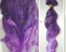 Lavender Ombre Hair Extension, Indian Remy Purple Mermaid Hair,Dark To Pastel Customed Made Human Hair Weft,3 bundles for full head