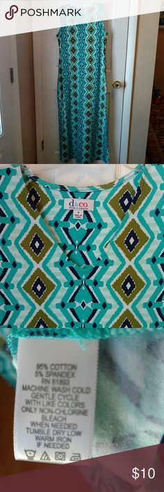 """Denim & Co Maxi Dress size small NWOT Maxi dress pulls over head with tie in back. Colors of aqua olive navy white. Great for casual - appox length 51"""" armpit to armpit 19"""" Hip 39"""" New without tags, purchased fir my own wardrobe but never wore D & Company Dresses Maxi"""