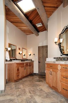 Zenteriors - contemporary - bathroom - albuquerque - Zenteriors by Camian Larson door is blue gray stain over knotty pine