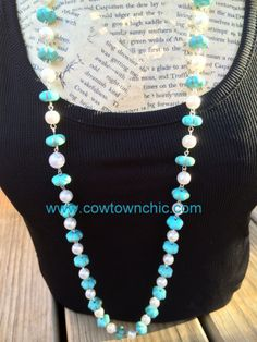 long turquoise & pearl necklace #longnecklace #turquoise #pearls