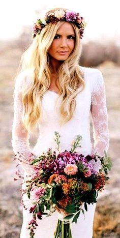 Offene Haare + Blumenkranz