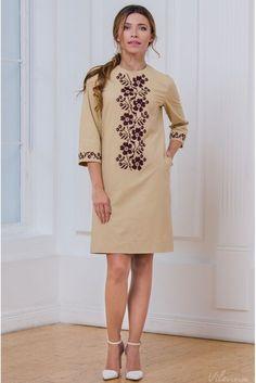 Простора святкова сукня з вишивкою • колір: бежевий • інтернет магазин • vilenna.ua