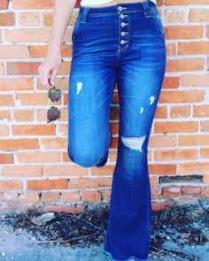 Alli High Rise KanCans – TheLand Boutique Bell Bottom Jeans, Boutique, Model, How To Wear, Cotton, Pants, Fashion, Trouser Pants, Moda