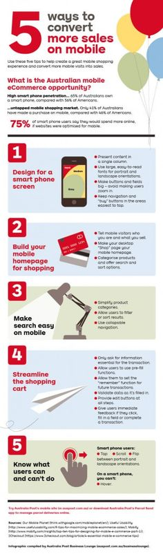 Infographic: five ways to convert more sales on mobile.  According to PayPal research, 75 per cent of smartphone users say they would spend more if websites were optimised for #mobile #commerce. In this infographic, we give businesses five ways to create a better mobile shopping experience. #eCommerce