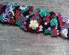 Freeform peyote beaded bracelet Seed beads by sollasjewelry