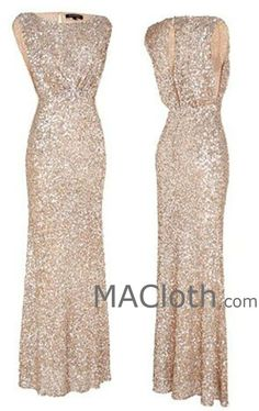 MACloth Cap Sleeves Sequin Rose Gold Long Bridesmaid Dress Wedding Party Formal Gown
