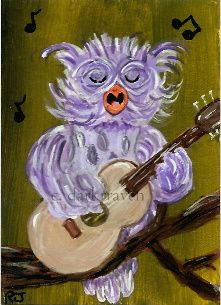 """Feel the Music"" - my newest painting in my owl series ~Rhonda A James"