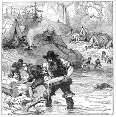 The discovery of gold nuggets in the Sacramento Valley in early 1848 sparked the Gold Rush.   California Gold Rush Pictures: Gold Washing in California