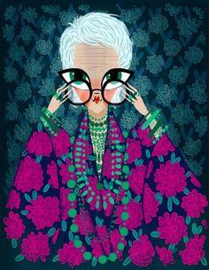 Iris Apfel fashion illustration: