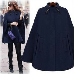 Women's Hooded Trim Poncho Cape Coat Ladies Fleece Jacket Cloak Fall Winter