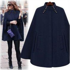 Women's Hooded Trim Poncho Cape Coat Ladies Fleece Jacket Cloak Fall Winter