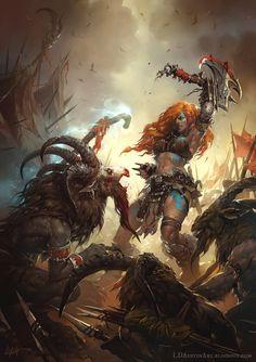 Diablo III - Barbarian versus Goatman, Laurel D Austin on ArtStation at http://www.artstation.com/artwork/diablo-iii-barbarian-versus-goatman