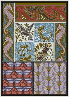 Dies ist eine Anpassung von einem Design-Panel von Maurice Verneuil und Eugene Grassets LAnimal Dans la Décoration; um 1897. .. .seahorses und Algen