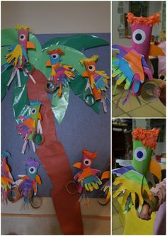 papegaai voor de kapitein. gemaakt uit een keukenrol. de vleugels zijn gemaakt uit een blad die de kleuters hebben geschilderd in vrolijke kleurtjes. Daarna hun handje op over getekend en uitgeknipt.