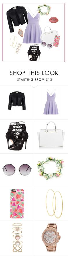 """Spring outfit"" by mariaavt ❤ liked on Polyvore featuring beauty, AX Paris, Alexander McQueen, Michael Kors, Monki, Casetify, Lana, Accessorize and Lime Crime"