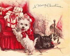 Christmas Scottie and Westie are headed for trouble!