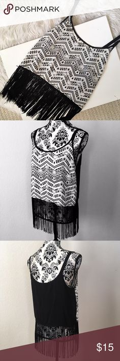 Adorable fringed camisole! Absolutely adorable fringed black & white tribal pattern camisole. Basically new, only tried  on. (Only tried on, doesn't fit) Charlotte Russe Tops Camisoles