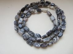 Hey, I found this really awesome Etsy listing at https://www.etsy.com/listing/174916464/jasper-gemstone-necklace-black-gray