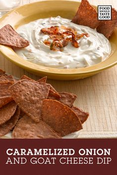 Try this deliciously creamy, slightly tangy Caramelized Onion and Goat Cheese Dip. It pairs perfectly with Food Should Taste Good Harvest Pumpkin chips. Dip Recipes, Appetizer Recipes, Cooking Recipes, Cheese Recipes, Recipies, Hummus, Food Should Taste Good, Tapas, Guacamole