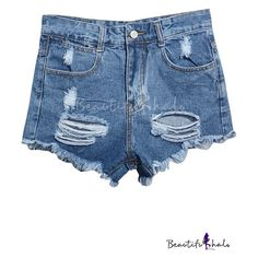 Blue High Waist Ripped Frayed Cuffs Denim Shorts ($14) ❤ liked on Polyvore featuring shorts, alice fabray, bh, denim shorts, destroyed denim shorts, high-waisted denim shorts, distressed jean shorts and high waisted shorts