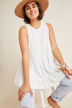 Petite Anthropologie Georgia Tiered Babydoll Tunic in White Size: Xs P, Women's Tops Maxi Wrap Dress, Tee Dress, Peasant Blouse, Tunic, Velvet Tops, Striped Tank, Dress To Impress, Baby Dolls, Summer Outfits