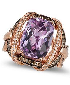 Le Vian Amethyst and Diamond Ring in 14k Rose Gold