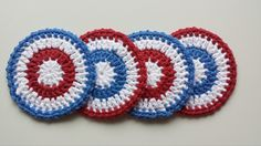 4th of July - Crochet Coasters - Set of 4 by LuckyfootDesigns on Etsy