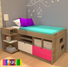 Bedroom Storage, Bedroom Decor, Easter Gifts For Kids, Rainbow Room, Bed With Drawers, Kabine, Room Inspiration, Small Spaces, Diy Home Decor