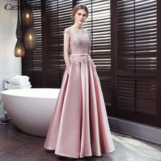 Pink lace solid color sleeveless backless slim prom dresses with Pink Gowns, Satin Dresses, Elegant Dresses, Satin Tulle, Midi Dresses, Evening Dresses With Sleeves, Midi Dress With Sleeves, Half Sleeves, Mermaid Midi Dress