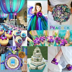 Peacock Party colors! Don't mind the wedding stuff!