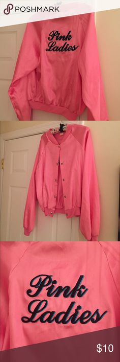 """Pink Ladies costume jacket Never worn! Pink Ladies costume jacket with button snaps. Size L. Measure approximately 20.5"""" armpit to armpit, 20"""" length, 24"""" sleeve length from shoulder. (No trades. Price firm. No offers accepted. Bundle discount available) Jackets & Coats"""