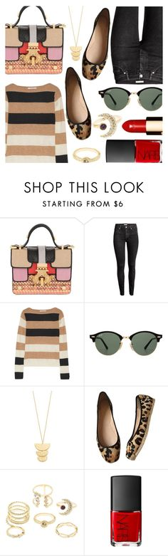 """""""Color Block Bag with Stripes & Leopard"""" by stacey-lynne ❤ liked on Polyvore featuring Giancarlo Petriglia, H&M, MaxMara, Ray-Ban, Gorjana, Kate Spade, Charlotte Russe and Clarins"""