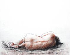 Frauenakt ORIGINAL liegend - Akt, Frau, nackt Zeichnung Gemälde Geschenk Illustration Grafik