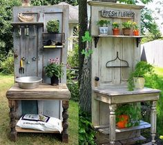 Ideas for recycling your old doors … – … - Gartenkunst Ideen Recycled Door, Recycled Garden, Repurposed Doors, Salvaged Doors, Old Door Projects, Garden Projects, Small Gardens, Outdoor Gardens, Rustic Gardens