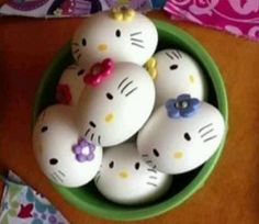 Hello Kitty eggs. My sister in law did this for Easter and they can out so cute.