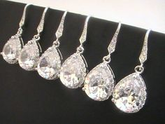 Set Of 8 Off Will You Be My Bridesmaid Gift Idea Bridesmaid Earrings, Cubic Zirconia Earrings, Wedding Jewelry, CZ Crystal Drop Earrings Will You Be My Bridesmaid Gifts, Bridesmaid Gifts Unique, Cubic Zirconia Earrings, Crystal Earrings, Drop Earrings, Bridesmaid Earrings, Wedding Earrings, Wedding Jewellery Gifts, Wedding Jewelry
