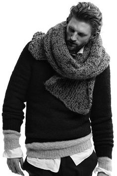 Yes to this bulky scarf over three fitted layers all in different colors. This is styling to the T.