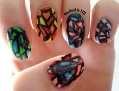 Nailed It NZ: Nail art for short nails #3 - Christmas tree nails + Mosaic nails (both guest posts!) http://nailedit1.blogspot.co.nz/2012/11/nail-art-for-short-nails-3-christmas.html