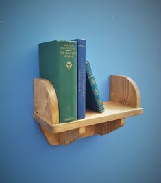small wooden wall shelf with book ends and wood brackets 44 cm long x 15 cm deep, custom handmade rustic simplicity furniture in Somerset UK Small Wooden Shelf, Wooden Wall Shelves, Wooden Walls, Wooden Bedroom, Wall Wood, Simple Furniture, Handmade Furniture, Furniture Making, Wooden Furniture