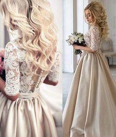 Unique Champagne v neck lace prom dress, champagne wedding dress