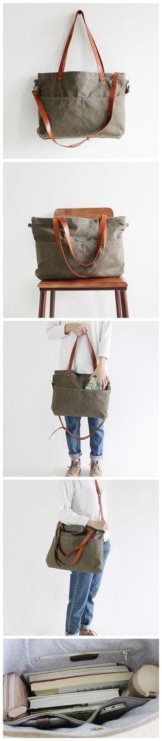 Handmade Canvas Tote Messenger Bag Shopper Bag School Bag Handbag 14022 --------------------------------- - 16oz waxed canvas - Cotton lining - Inside one zipper pocket, one phone pocket, one wallet p