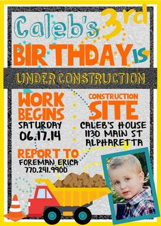 CUSTOM Under Construction Birthday Party Invitation (with or without Child's photo) - Construction Theme - Printable Invitation - Dump Truck