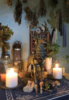 More pics of the Spirit of Wilderness/Cernunnos altar. I have a setup I'm pretty satisfied with for now. Wiccan Alter, Pagan Altar, Wicca Witchcraft, Magick, Tarot, Altar Design, Witch Room, Crystal Room, Wiccan Decor