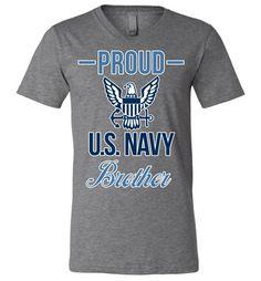 Proud U.S. Navy Brother Canvas Unisex V-Neck T-Shirt